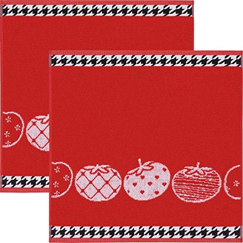 Kracht Geschirrtuch 2er-Pack Frottier Baumwolle Tomaten Größe 50x50 cm - Tomaten-pack