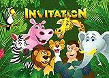 Edition Colibri Lot de 10 Cartes d'Invitation Animaux DE Zoo en Français pour Un Anniversaire d'Enfant ou pour Une Partie au Zoo des (10968 FR)