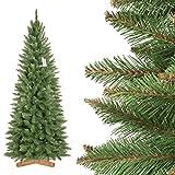 FairyTrees künstlicher Weihnachtsbaum Slim, Fichte Natur, grüner Stamm, Material PVC, inkl. Holzständer, 180cm, FT12-180