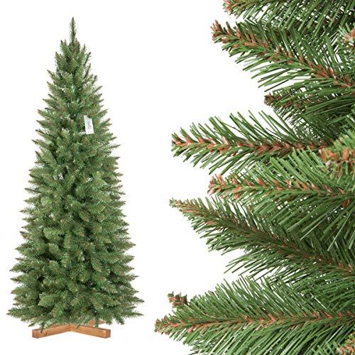 FairyTrees Árbol de Navidad Artificial Slim, Picea Natural, el Tronco Verde, el...