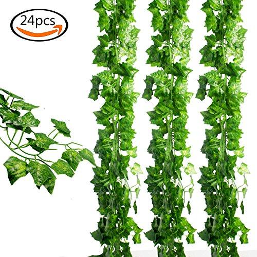 JPSOR 24 Stück Künstliche Grün Fake Efeublatt Efeu Girlanden Ivy Blätterkranz Hängen für Hochzeit Party Garten Wanddekoration Test
