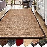 Casa pura® Sisal Alfombra de fibras naturales, muchos colores | con cenefa de algodón | Fácil | tamaño a elegir), Sisal, corcho, 70 x 130 cm