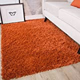 Ontario Terracotta Orange Soft Warm Thick Shaggy Shag Fluffy Living Room Area Rug