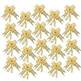 Baoblaze 20 Stück Ziehschleifen Geschenkschleife aus Organza für Hochzeit Geburtstag Geschenke - Gold, 16 x 23 cm