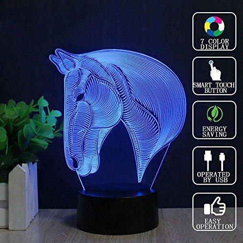 3D optische Illusion Lampe, LED-Touch-Schalterlampe mit USB-Ladung Acryl intelligente Nacht Lampe 7 Arten von Farbe wechselnden Tier Tischlampe, für Kinder-Tag Schlafzimmer Studie Geschenk ( Design : B )