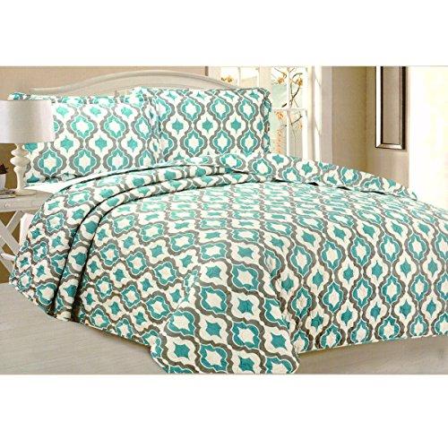 Todd Bettwäsche Queen Tagesdecke Quilt 3-teilig weich Gesteppte Betten–Luxuriöse bequem Mikrofaser Decke + 2kissenrollen (grün geometrische) (Bettbezug Grand Hotel)