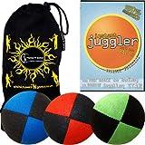 """3x Pro Giocoleria palline - Deluxe (Camoscio) palle da giocoliere professionali Set di 3 + """"Instant Juggle"""" DVD + borsa da viaggio in tessuto."""