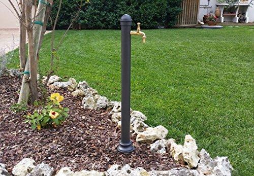Fontana a colonna in ghisa e acciaio con rubinetto per casa giardino esterno modello erice