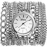 JSDDE Uhren,Vintage Luxus Damen Herren Armbanduhr Damenuhr Metall Band Wickelarmband Quarzuhr,Silber