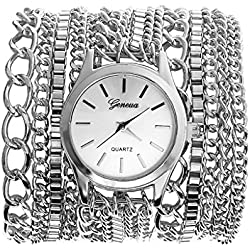 JSDDE Watches, Vintage Luxury Men's Watch Women's Watch Metal Bracelet Quartz Watch, Silver