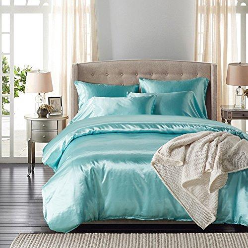 gloryhonor Fashion Moderne Solid Farbe Bettbezug Kissen Fall bequem 2Betten-Set, schwarz, Polyester, seeblau, Einheitsgröße