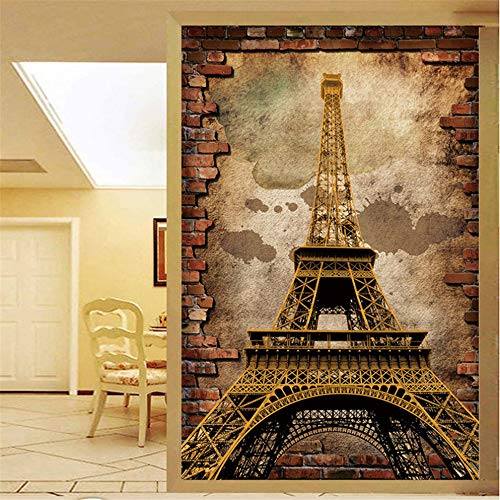 Preisvergleich Produktbild Wuyyii Individuelle Tapeten Für Wände 3D Retro Europäischen Stil Eiffelturm Wandmalerei Eingang Hintergrund Wandbild Tapete Ziegel-150X120CM