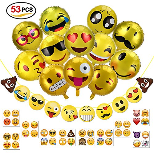 Konsait emoji striscioni e 18 pollici emotion palloncini colorati ad elio e 40 emoji tatuaggi temporanei smile decorazione festa di compleanno bambini, natale, matrimoni, party