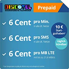 discoTEL LTE Prepaid 6 Cent inkl. 10 Euro Startguthaben [SIM, Micro-SIM und Nano-SIM] täglich kündbar (6 Cent pro Minute, 6 Cent pro SMS, 6 Cent pro MB)
