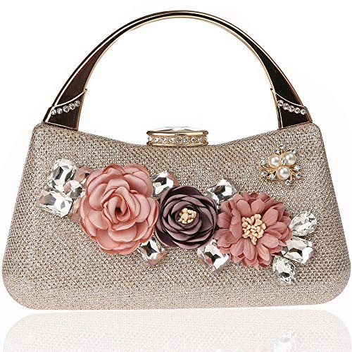 Glitter bling donna 3d fiore elegante frizioni in raso borse da sera borse, borsa da sposa frizione strass perla borse in rilievo per la festa di promenade di nozze da sposa (brillante champagne)