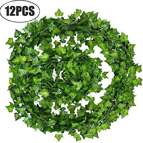 Lstc artificiali piante edera rampicante vera foglie ghirlanda vines falso hanging fogliame fiori decorazioni per giardino parete festa matrimonio esterno interno balconi 7.2 feet(12 pezzi).