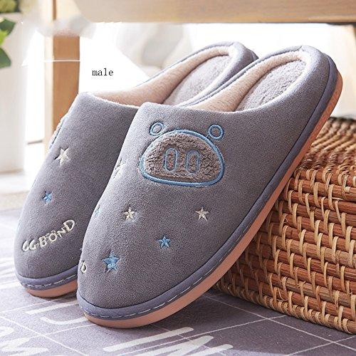 Paire De Pantoufles Pantoufles Chaudes En Coton D'hiver Paquet Domestique Avec Pantoufles Pantoufles Plus Épaisses 6 Couleurs Disponibles Taille Optionnelle (couleur: C, Dimensions: 36/37 (35/36)) E