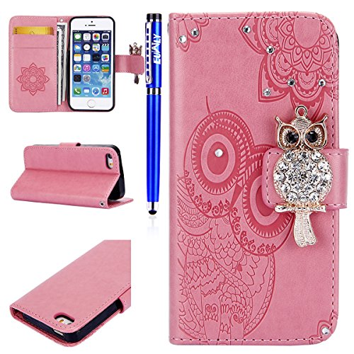 EUWLY Case Cover per iPhone 6 Plus/iPhone 6s Plus (5.5) Custodia Portafoglio PU Pelle Libro Flip Wallet Protettivo Case Cover Brillante lucido Bling Fiore Pelle Case Glitter Diamante Gufo Custodia Co Glitter Gufo Fiore,Rosa