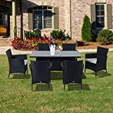 Outsunny Rattan Garden Furniture Dining 7 pc Set Patio Rectangular Table 6 Arm Chairs Fire Retardant Sponge Black New