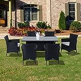 Outsunny Rattan Garden Furniture Dining 7 pc Set Patio Rectangular Table 6 Arm Chairs Fire Retardant Sponge Black New