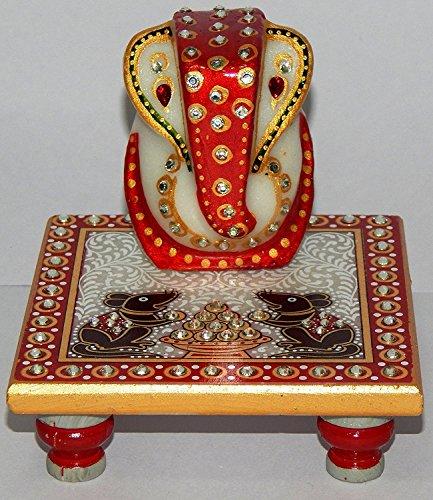 "Green World Pooja Samagri | White Marble Ganesh Ji With Marble Idol Choki Rat| size (2.5"" Ganesh Ji & 4"" Chowki) | Home Decor | Marble Handicrafts | Handpainted | Makrana | Sangemarmar Marble | Traditional | Decorative | Gift item | Showpiece | Heritage | Royal | Wedding Return Gift | Deepawali Pooja Accessory | Pooja Accessory | Ganesh Marble Murti by Green World Pooja Samagri  available at amazon for Rs.111"