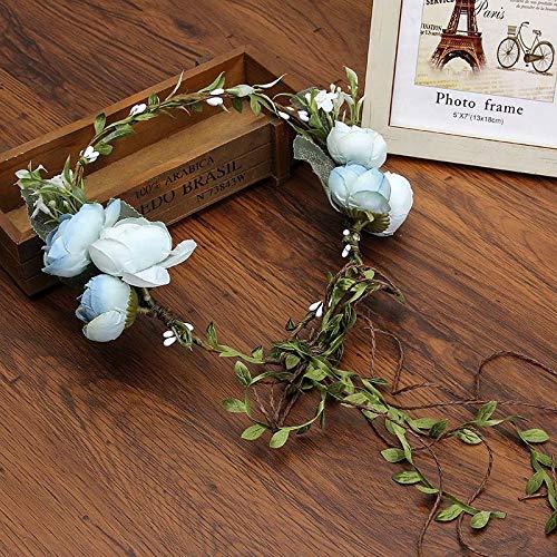 Fang-denghui, Braut Hochzeit Blume Stirnband Für Frauen Kranz Haarband Party Blume Haarschmuck Blume Krone Garland Kopfschmuck (Color : Blue) China Blue Garland