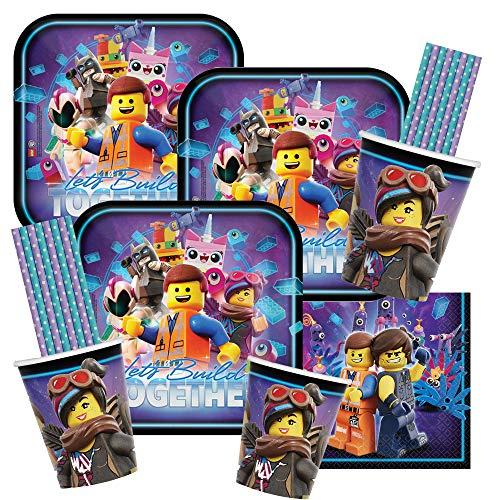 eiliges Party-Set Lego Movie 2 - Teller Becher Servietten Trinkhalme blau/lila für 16 Kinder ()
