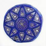 Pouf Fassi in pelle pelle Cobalto, pouffe marocchino in pelle Veritable fatto mano immagine