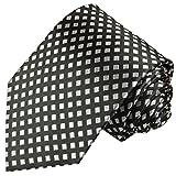 Cravate homme argenté noire à damier 100% soie