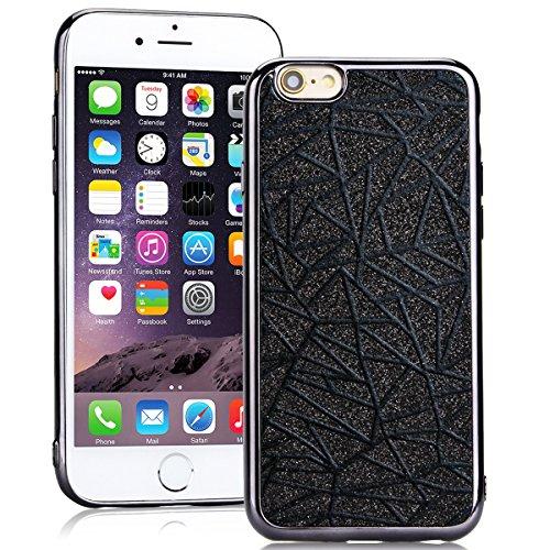SMARTLEGEND Silicone Morbido Cover Per iPhone 6, Anti-Graffio TPU Case Cover, Ultra Glitter Protettiva Guscio Protettivo, Anti-Shock Soft Cover, Durevole Soft Case - Oro Nero
