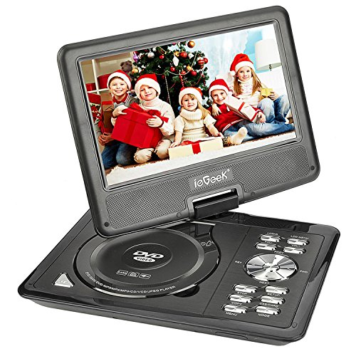 ieGeek 9.5 Portable DVD Player with 5 Hour Rechargeable Battery, 360°LCD Eye Protection Swivel Screen, Supports 32GB SD Card and USB, with Remote Controller   Game Joystick  Car Charger (Black)