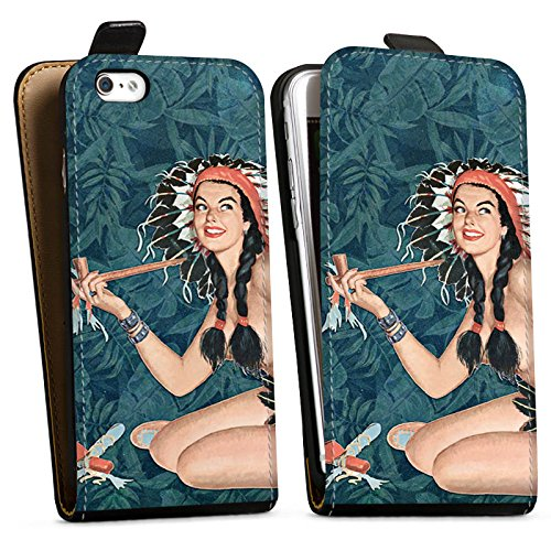 Apple iPhone X Silikon Hülle Case Schutzhülle Indianer Frau Pinup Downflip Tasche schwarz