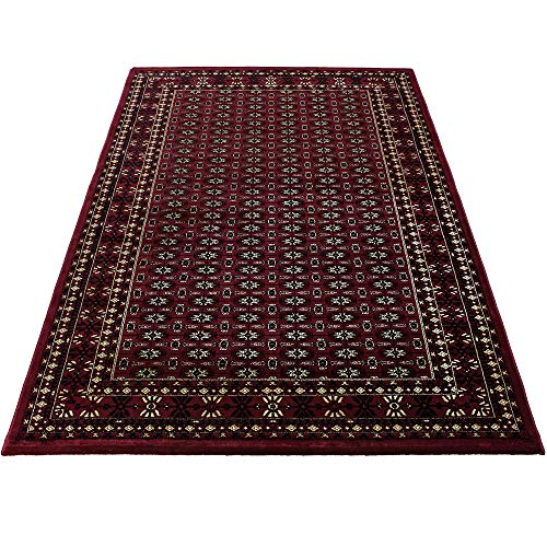 Orientteppich Wohnzimmer Klassische Optik Afghanischer Muster Rot Schwarz Beige, Maße:200x290 cm