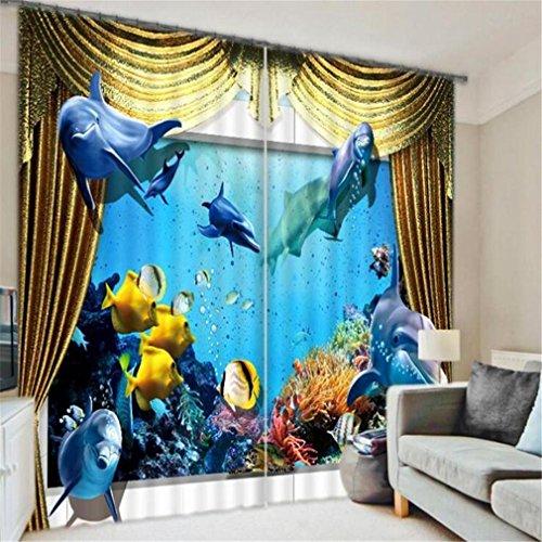 GUOW 3D-Fenstervorhänge isoliert Ozean Pavillon Schlafzimmer dekorative Schattierung Gewebe europäischen Stil drucken Polyester dekorative digitale , E (Zebra Thermische Vorhänge)
