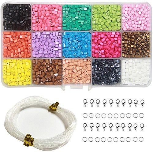 Ewparts 15 in 1 Mini DIY Perlen für Kinder, Acryl Perlen für Schmuck machen, Armbänder, Halsketten, Baby Mädchen Geschenk Kinder pädagogisches Kit (Rechteck)