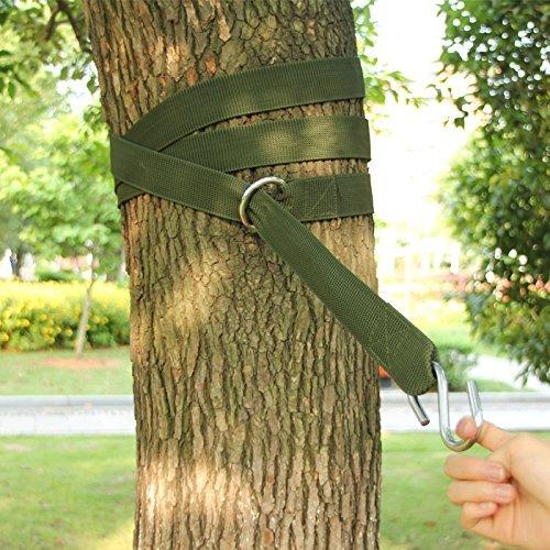 Gearmax® Aufhängeset Befestigungsset für Hängematten an Bäumen Outdoor Garden Hammock Tree Straps + max. 300 KG (Dunkelgrün) - 2