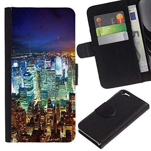 Graphic4You New York City Tilt Shift Postkarte Ansichtskarte Design Brieftasche Leder Hülle Case Schutzhülle für Apple iPhone 6 / 6S Design #2