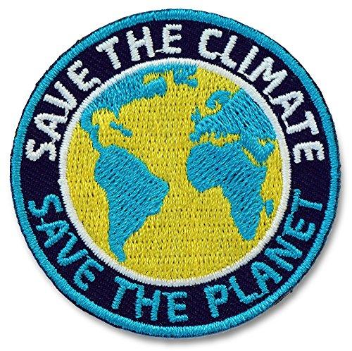 2er-Pack / Save the Climate / Save the Planet blau / Stick Abzeichen zu Klimaschutz / Nachhaltigkeit, Klima Wandel / Patch für Kleidung, Rucksack / Applikation, Aufnäher, Aufbügler, Bügelbild, rund (Blau Planeten Kleidung)