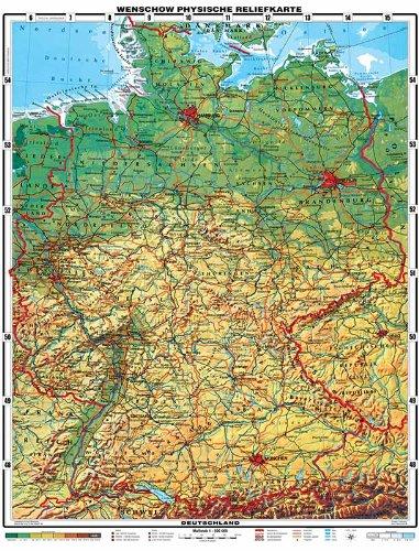 XXL 1,95 Meter - Original handgezeichnete Relief Deutschland mit Lifetime Update Zertifikat - by Wenschow since 1908 - antireflex-entspiegelt laminiert (riesen großes Poster Wandkarte, Deutschlandkarte Großformat)