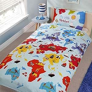 Children's 'My Little Adventure' Duvet Cover and Pillowcase Set (Single - 135cm x 200cm)