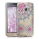 kwmobile Funda para Samsung Galaxy J1 (2016) - Carcasa de [TPU] para móvil y diseño de Flores pintadas en [Rosa Fucsia/Azul/Transparente]
