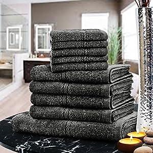 Set di asciugamani di lusso 100% cotone egiziano,10 pz, asciugamani viso, mani e da bagno, 9 asciugamani (Fusion) (TM) Black