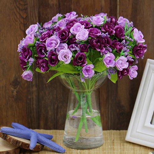 ypypiaol Neueste Künstliche Blumen Rose Blumen Vintage Gefälschte Seidenblumen für DIY Hochzeit Bouquets Mittelstücke Party Geburtstag Weihnachten Home Decor 21 Köpfe Rose Purple