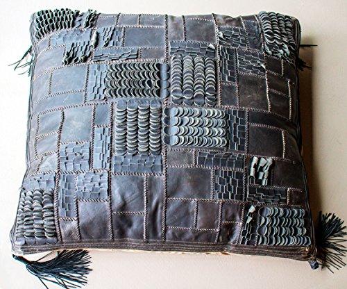 Pachamama Kissen–puof quadratisch Leder Patchwork 90x 90cm