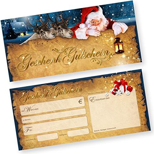 PREMIUM 50 Stk. Geschenkgutscheine für Weihnachten Nordpol Express (50 Stück) einfach Werte eintragen + Stempel, für Gewerbe aller Art