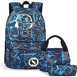 Schulrucksack Jungen Teens Bookbag Set Reise Daypack Kinder Mittagessen Tasche Mäppchen (Blau-3pcs)