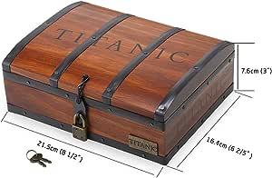 Collana Cuore dell'oceano, con ciondolo Titanic in scatola di legno in confezione regalo