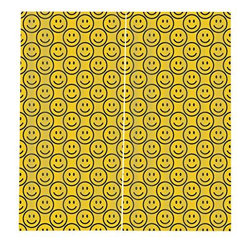 RYQRP 3D Vorhang Blickdicht Smiley-Gesicht 2er Set Gardine Polyester mit Haken für Schlafzimmer Kinderzimmer Wohnzimmer Dekoration, 150 * 166cm