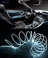 FABTEC EL Wire Car Interior Light Ambient Neon Light for Cars Without Adapter (White, 1 Meter)
