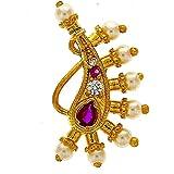 Anuradha Art Pink-Gold Metal Nose Ring For Women & Girls